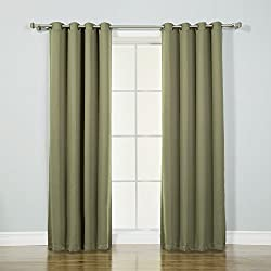 "Best Home Fashion Thermal Insulated Blackout Curtains - Antique Bronze Grommet Top - Olive - 52""W x 84""L - (Set of 2 Panels)"