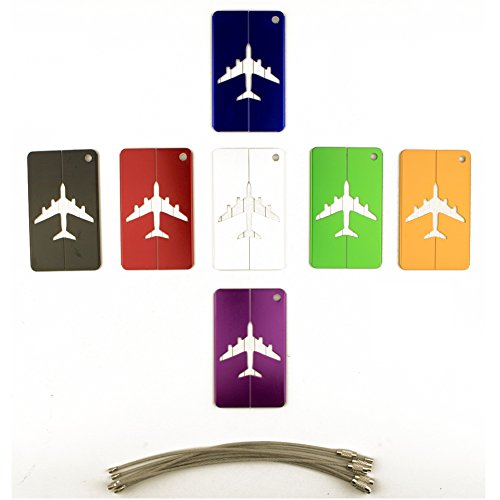 Luggage Tags ,Travel Suitcase Luggage Bag ID Tag ,Airline Baggage Labels,Business Card Holder,Suitcase Label with Stainless Steel String Wire for Luggage, Bag, Suitcase (7 PACK)