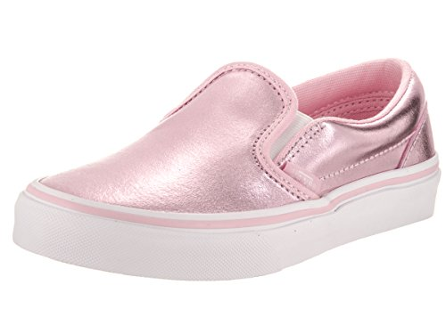 Vans Kids Classic Slip-On (Metallic) Pink/true White Skate Shoe 2.5 Kids (Vans Girls Skateboard Shoe)