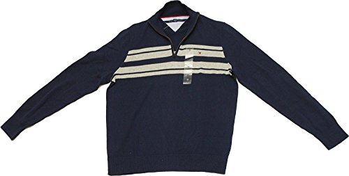 - Tommy Hilfiger Mens Half Zip Mock Neck Sweater (Large, Core Navy)