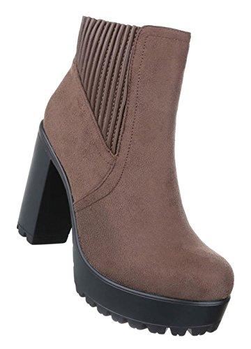 Damen Schuhe Stiefeletten   Gothic High Heels   Plateau Nieten Boots   Sky Heels   Damenschuhe Stiefeletten   Leder-Optik Booties   Schuhcity24 Modell Nr1 Hellbraun