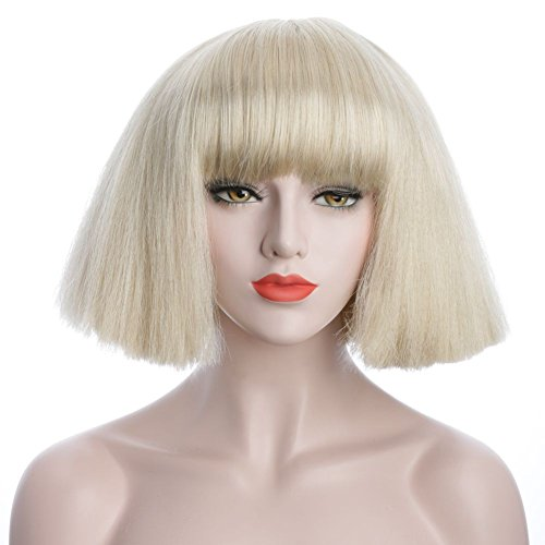 karlery 8 inches Blonde and Brown Short Straight Wigs with Bangs (Blonde)