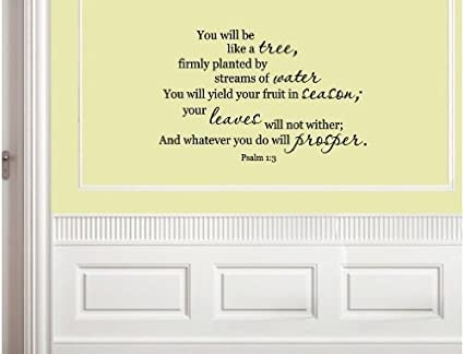 Amazon.com: Vinyl wall quotes. Wall Talks. Scriptures Psalm 1:3 YOU ...