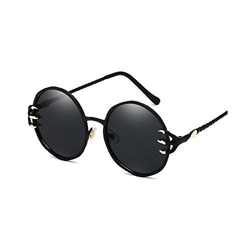 protection unisexe lentilles rondes pour Style de soleil lunettes lunettes Punk rétro loups de Cool femmes et la soleil de lunettes décoration UV métal PC les pour conduite Rétro hommes Noir voy les griffe zfnB1WW