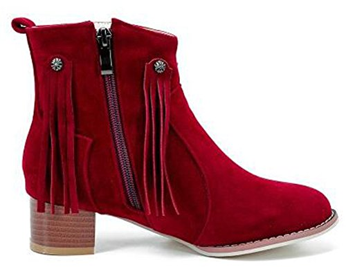 IDIFU Womens Dressy Fringes Mid Chunky Heels Frosted Motor Ankle Boots With Zipper Red PFiRs