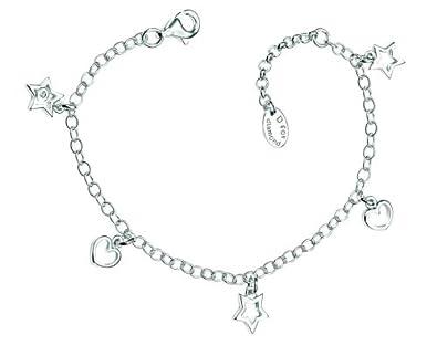 2576df9bb9f82 D for Diamond Sterling Silver B3309 Girls Diamond Set Open Hearts ...