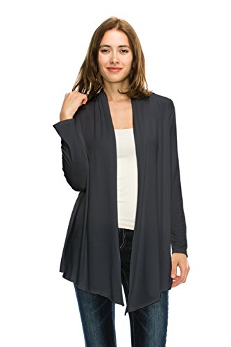 Jubilee Couture JC Womens Easy Wear Super Soft Open Front Drape Long Sleeve Cardigan Made in USA-Large,Dark Grey