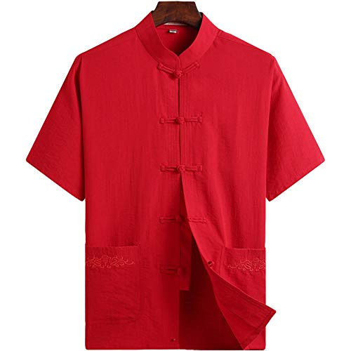 ZooBoo Chinese Clothing Tang Shirt - Traditional ChinaAncient Costume Martial Arts Kung Fu Short Sleeve Shirt for Men - Cotton and Linen (Red, XXL) ()