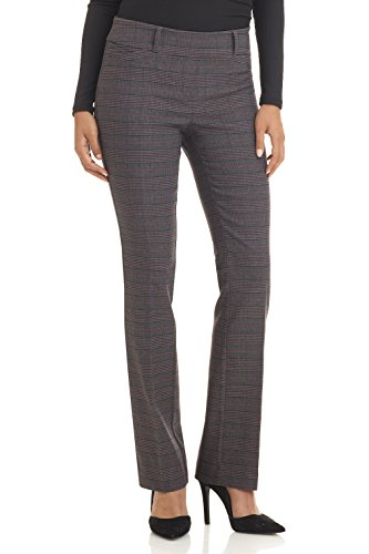 Rekucci Women's Ease in to Comfort Fit Barely Bootcut Stretch Pants (10,Charcoal/Wine)