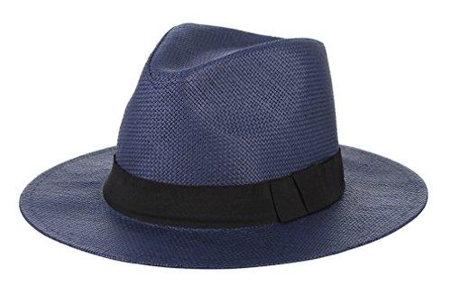 GEMVIE Fedora Panama Hat Black Banded Wide Brim Summer Straw Cap Navy Blue 58cm ()