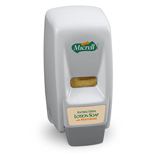 MICRELL 800 Series Antibacterial Lotion Soap Push-Style Dispenser, Dove Grey, Dispenser for MICRELL 800 mL Lotion Soap Refill - 9721-12