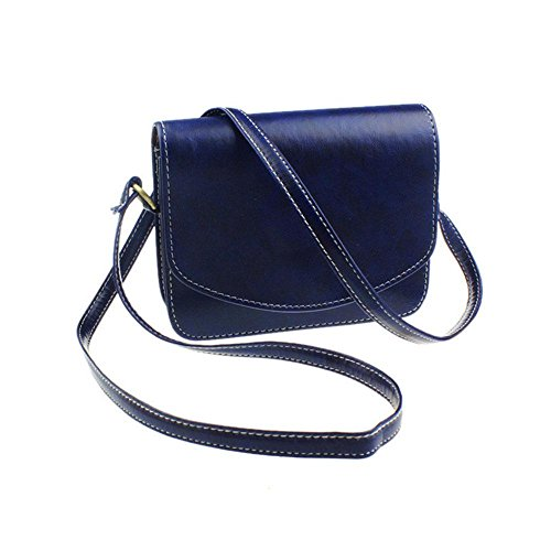 AOLVO Small Crossbody Bags for Women, Leather Envelope Shape Vintage Style Anti Theft Shoulder Purse For Ladies Travel Messenger Bag (Blue, Black, Dark Brown, Yellow Brown, Red Color) (Envelope Style Convertible Clutch)