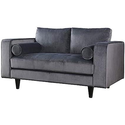 Pleasing Amazon Com Acme Heather Velvet Loveseat In Gray Kitchen Evergreenethics Interior Chair Design Evergreenethicsorg