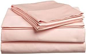 LaxLinens 300hilos algodón egipcio de juego de cama (+ 10pulgadas) extra profundo bolsillo doble pequeña, melocotón sólido
