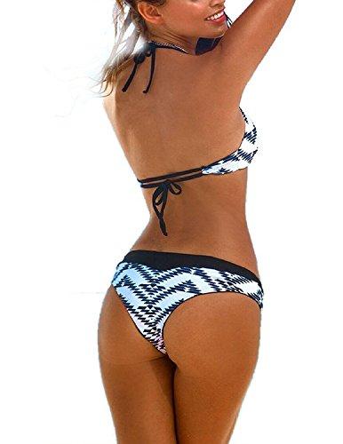 M-Queen Mujeres 2PCS Push up Bikinis Impreso Traje de Baño Bañador Bathing suit Beachwear negro