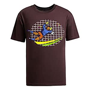 Custom Mens Cotton Short Sleeve Round Neck T-shirt,2014 Brazil FIFA World Cup soccer goalie frntside OVAL brown