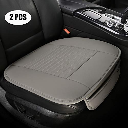 EDEALYN (19.7 inches deep × 20.87 wide) (2PCS) PU leather Car seat cover Car Accessories Car Seat Protector Seat Covers Universal Car, (Gray-N) (Grayn)