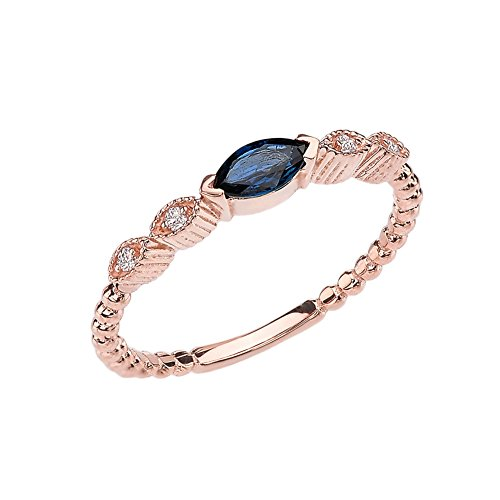 14k Rose Gold Marquise Cut Engagement/Proposal Diamond Ring With Genuine Sapphire Center Stone (Size ()
