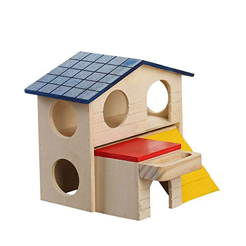 (WYF Pet Double-Storey Chalet Double-Decker House Golden Bear Small Pet Luxury Villa Cabin Foldable Safety Health Can Rest Assured Bite )