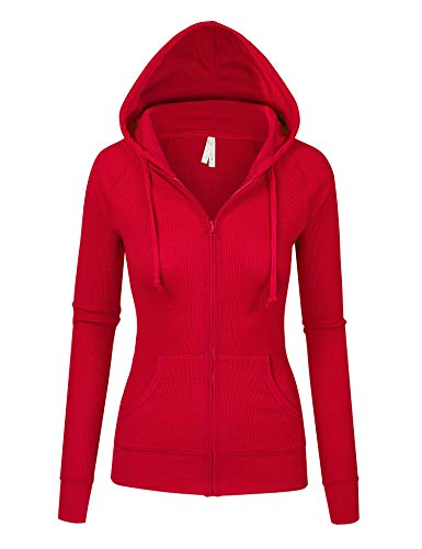 Womens Red Color Thermal Zip Up Casual Hoodie Jacket (8035_RED_M) ()