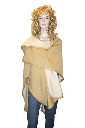 Cashmere Pashmina Group- Cape Woolen Reversible Ruana Knitted Poncho Shawl Cardigans Sweater Coat (Camel/ Ivory) by Cashmere Pashmina Group