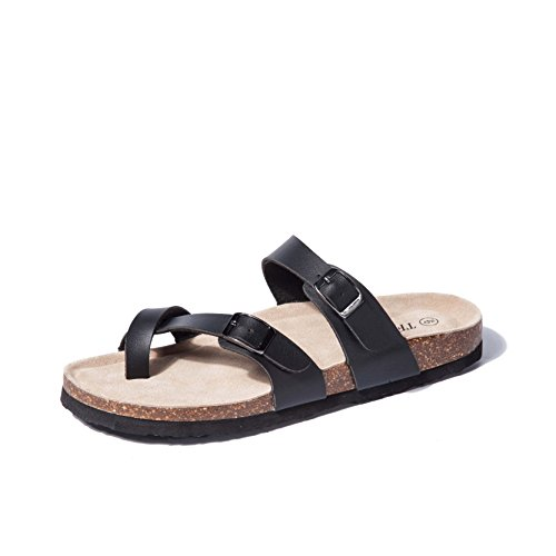 - Adjustable Flat Leather Black Casual Sandals for Women & Ladies, Youth Suede Slide Cork Footbed for Teenagers / Girls