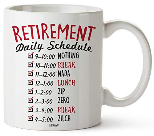 Funny Retirement Gifts for Women Men Dad Mom. Retirement Coffee Mug Gift. Retired Daily Schedule Calendar Mugs for Coworkers Office & Family. Unique Novelty Ideas for Her Nurses Navy Air Force Gag -