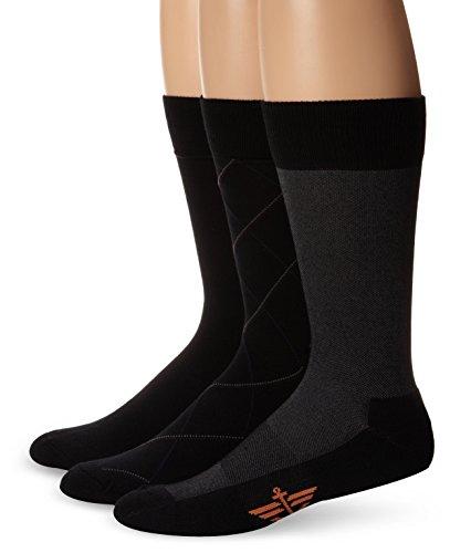 Dockers Men's 3-pack Ultimate Fit - Elevated Dress Bias Necktie Crew Socks, Black, Shoe Size: 6-12 Size: 10-13