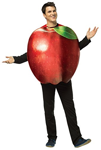 Adult Get Real Apple Costumes (UHC Men's Get Real Apple Outfit Funny Comical Theme Adult Halloween Costume, OS)