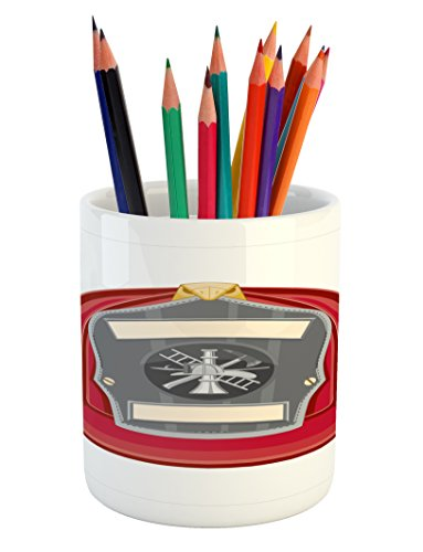 Lunarable Fireman Pencil Pen Holder, Traditional Firefighter Icon with Fire Department Logo Public Servant Uniform, Printed Ceramic Pencil Pen Holder for Desk Office Accessory, Red Grey Beige