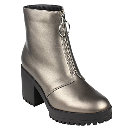 - BESTON EI57 Women's Zip Front Lug Sole Platform Chunky Heel Ankle Booties, Color Pewter, Size:11