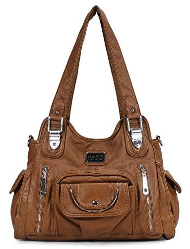 Scarleton Satchel Handbag for Women, Ultra Soft Washed Vegan Leather Crossbody Bag, Shoulder Bag, Tote Purse, Brown, H163504