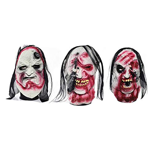 3pcs Scary Zombie Mask with Hair Blood Face Latex Masks for Halloween Masquerade Costume Party Props for $<!--$18.90-->