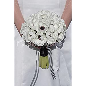 Elegant White Real Touch Anemone Poppy Wedding Bridal Bouquet 38