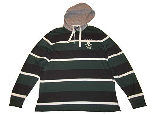 (RALPH LAUREN Polo Mens Cotton Hooded Skull Rugby Shirt Green)