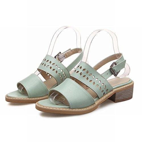 Carolbar Donna Open Toe Fibbia Casual Moda Dolce Comfort Data Carino Sandali Tacco Basso Blu Verde
