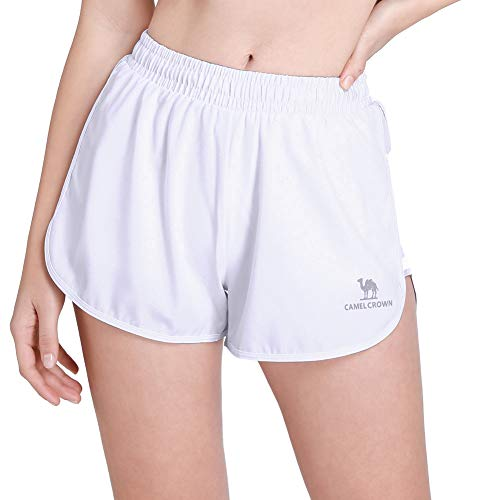 CAMEL Women's Running Shorts 3'' Athletic Shorts Double Layer Elastic Waistband Sport Shorts for Workout Fitness Gym Training White ()