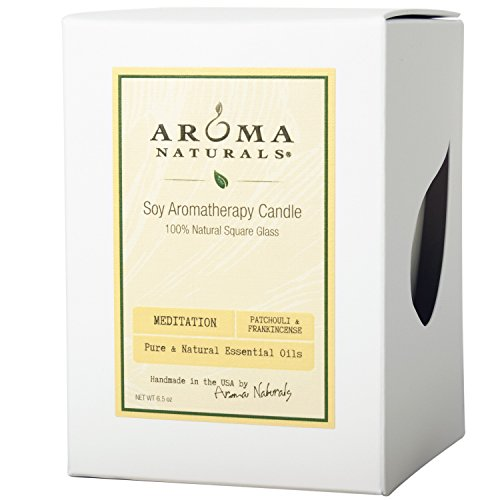 Aroma Naturals 100 Percent Natural Meditation Square Glass Soy Candle, Patchouli and Frankincense, 6.8 Ounce
