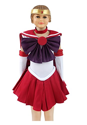 [Dazcos Child Size Sailor Moon Hino Rei Kids Cosplay Costume (Child S)] (Sailor Moon Costumes Kids)