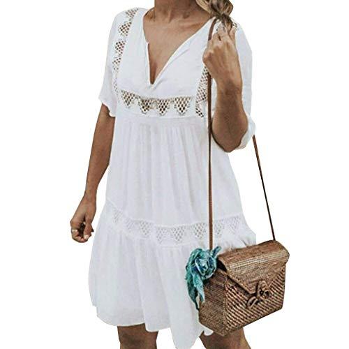 Price comparison product image BODOAO Women Dress V Neck Mini Bohemian Dress Casual Beach Holiday Hollow Short Dress White