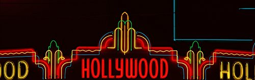 Posterazzi Neon Sign in Panoramic Format in Hollywood Los Angeles California Poster Print (27 x 9)
