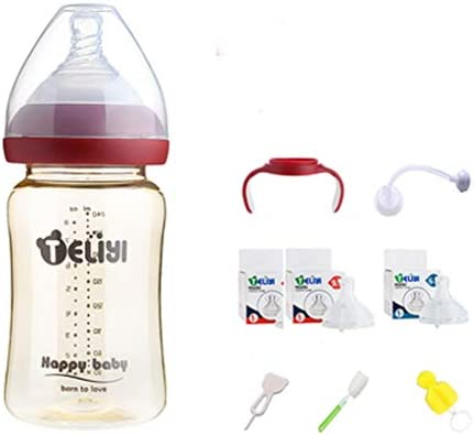 LUCKY Babyflaschen Set,150/ 240ml Babyflasche,6-18 Monate,BPA-frei,Rosa