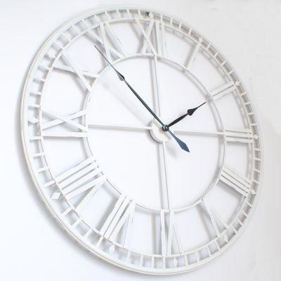 Grande gran romano de esqueleto blanco reloj de pared (120 cm 119,38 cm