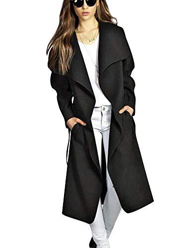 Abrigos Mujer Primavera Otoño Elegante Manga Largo Abierto Casuales con Cinturón Ligeros Color Sólido Especial Estilo Moda Abrigo De Transición Chaqueta Outerwear Largos Schwarz
