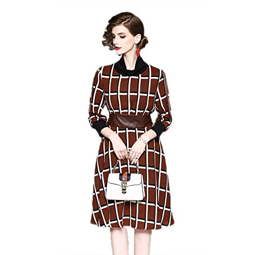 Party Collar Neck cotyledon Women`s Printed Dress High 3 Dresses Waist Sleeve for Brown 4 Stand XwgYwqO
