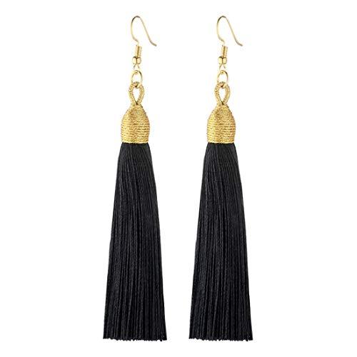 Boho Thread Long Tassel Dangle Drop Fringe Earrings Silk Fabric Vintage Charms Eardrop (Black)
