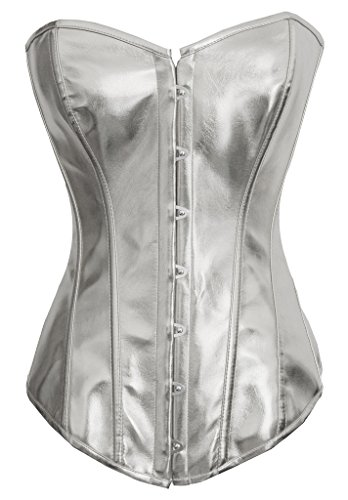 Alivila.Y Fashion Womens Sexy Steampunk Gothic Faux Leather Boned Corset 2340A-Silver-S