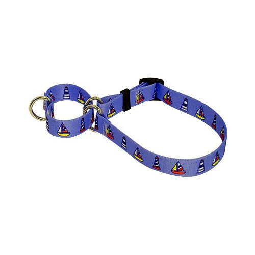(Sailboats & Lighthouses Martingale Control Dog Collar - Size Small 14