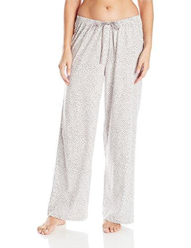 HUE Printed Knit Long Pajama Sleep Pant Women's, Off White/Rita Cheetah, Large