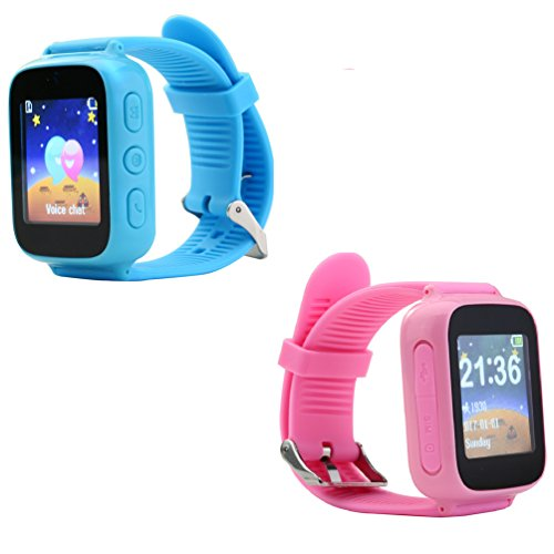 Kids Smartwatch GPS Tracking, Simple Waterproof Touch Screen GSM Phone with Anti-lost SOS WristBand Bracelet Support IOS and Android (Pink)